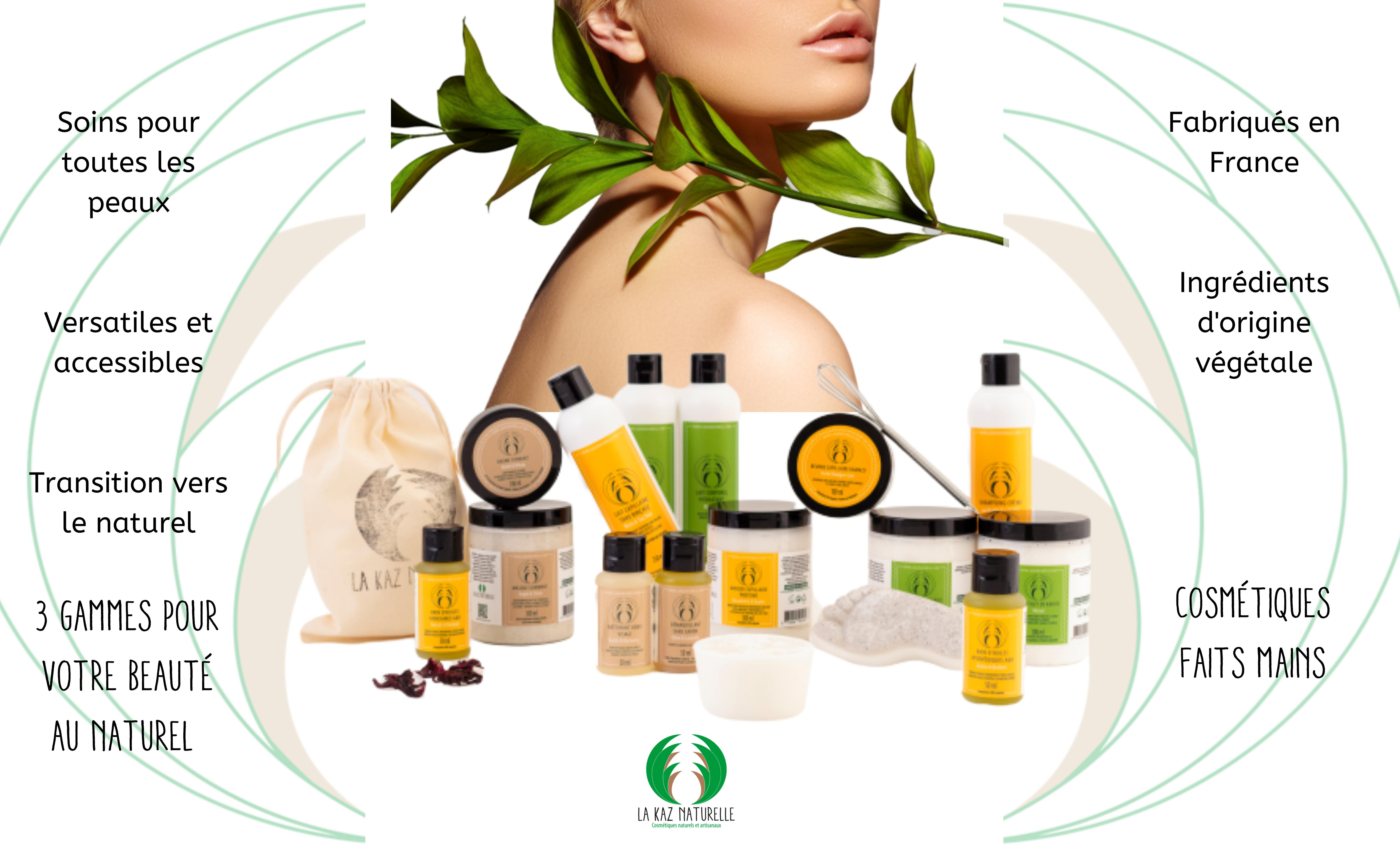 La Kaz Naturelle Découvrez la gamme de produits cosmétiques aux compositions naturelles de la marque La Kaz Naturelle. Des soins efficaces pour le visage, les cheveux et le corps.